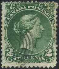 Canada #24 used F 1868 Queen Victoria 2c darker green Large Queen CV$50.00