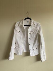 SASS & BIDE Fitted Denim Jacket Flared Sleeves Funky Thompson White Vintage 42