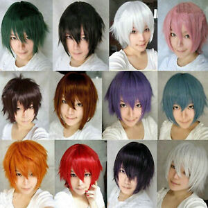 Unisex Boy Mens Anime Short Wig Cosplay Party Straight Hair Cosplay Full Wigs
