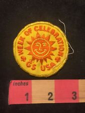 Vintage Girl Scouts USA Sunshine Logo WEEK OF CELEBRATION Party Patch 89NC