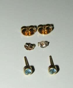 9ct Yellow Gold Blue Topaz Stud Earrings, Spare Backs