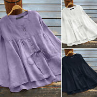 Women Casual Oversized Loose Basic Tops Vintage Cotton T-Shirt Shirt Blouse Plus