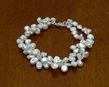 Sterling Silver Twist White Keishi Pearl Bracelet