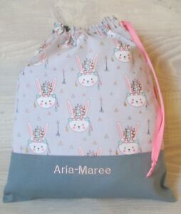 Tribal Bunnies X-STRONG FREE NAME EMBROIDERED GIRLS LIBRARY BOOK BAG DRAWSTRING