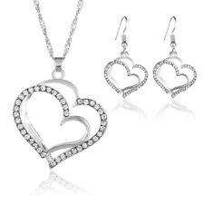 Fashion Chic Double Heart Crystal Rhinestone Necklace Earring Jewelry Set Decor