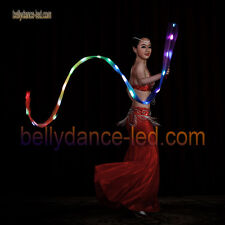 New! LED poi silk veil rainbow band real silk Rhythmic gymnastics rechargeable
