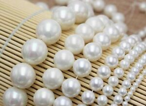 Pretty 4/6/8/10/12mm Tahitian Natural White Shell Pearl Round Loose Beads 15''