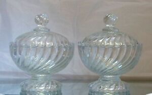 BACCARAT BAMBOU - Gorgeous PAIR 2x Candy Box Crystal Covered Box Bamboo 1930