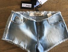 NWT Bluemarine 42 US 4 6 Hot Short Denim shorts crystals details $200++
