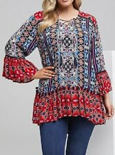 Bohemian Ethnic Blue/ Red 3/4 Bell Sleeve Tunic/Top Size 12 RRP $119.95