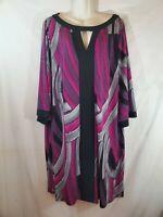Maggie Barnes Womens Plus Size 1X Purple Gray Black Dress Short Sleeve