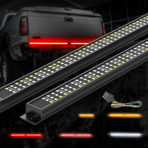 MICTUNING Aluminum Triple Tailgate Light Bar Strip IP67 Amber Turn Signal Red