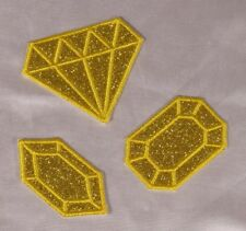 Embroidered Glitter Sparkle 3-Pc Set Gold Diamond Gem Applique Patch Iron On Sew