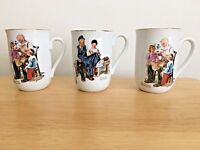Set of 3 Norman Rockwell Coffee Mugs 2 Toymaker & 1 Lighthouse Museum Collection
