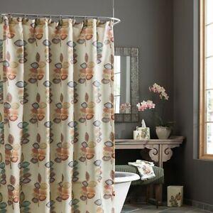 "Croscill Mosaic Leaves Fabric Shower Curtain 70x72"" Multicolor Autumn Fall Color"