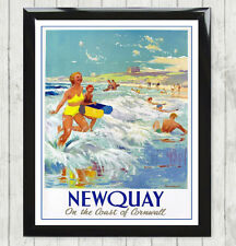 Framed Art Print Vintage Newquay Cornwall Beach Holiday Advert Poster Gift 070
