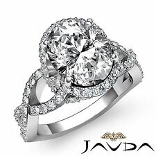 Curve Shank Oval Diamond Engagement Halo Pave Set Ring GIA G VS2 Platinum 2.6ct