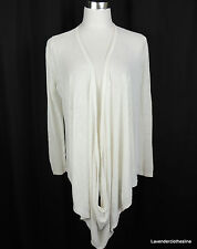 Christopher Fischer S White 100% Linen Drape Infinity Front Cardigan Sweater