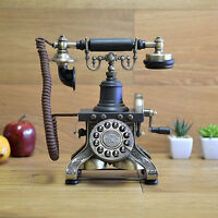 Black Vintage Telephone Rotary Rotary Plate Antique Handset Corded Retro Phone