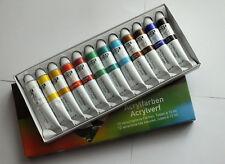 12x 12 ml Tuben Acryl Farben für Pinselmalerei Malerei One Stroke Nailart