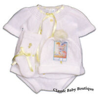 NWT Will'beth White Yellow Knit 4pc Diaper Set Preemie Baby Girls Hat Booties 00