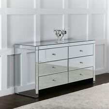 Mirrored Bedroom Chest of 6 Storage Dawers LARGE Mirror Sideboard Glass Cabinet