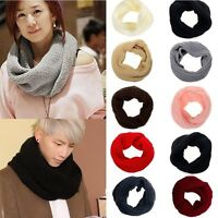 Cozy Men Women Winter Warm Infinity Circle Cable Knit Cowl Neck Long Scarf Shawl