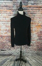 J Crew Black Cable Knit Turtleneck WOOL ANGORA CASHMERE Pullover Sweater Sz S