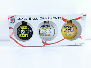 Pittsburgh Steelers Hanging Glass Ball Christmas Ornament 3 Pack of Ornaments