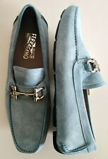 SALVATORE FERRAGAMO authentic men's shoes PARIGI suede leather blue 9.5UK/US10.5