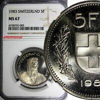 Switzerland Copper-nickel 1983 5 Francs NGC MS67 GEM BU 31.3 mm KM# 40a.2