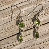 Handmade 925 Sterling Silver Peridot Gemstone Circle Drop/Dangle Earrings
