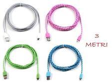 CAVO USB PER SAMSUNG -HTC- LG- NOKIA-SONY  LUNGHEZZA 3 METRI
