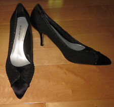New Ann Marino Womens Black Sheer Silk-like Leather Heels 9.5 *Sharp Must C*