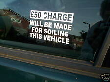 SOILING £50 CHARGE TAXI WINDOW VINYL GRAPHIC STICKERS (set of 3)