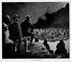 FREDERIC REMINGTON 1890 VINTAGE ENGRAVING IN THE CAVE OF THE DEAD SKELETON