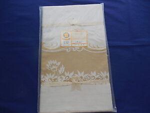 """Vintage Beige & Gold Damask Tablecloth NIP 50"""" x 68"""""""