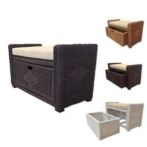 "Rattan Wicker Chest Trunk Storage Ottoman Eva 31"" w/ Basket & Cushion"