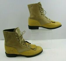 Ladies Ariat Yellow Leather Roper Lace Up Boots Size : 6 B