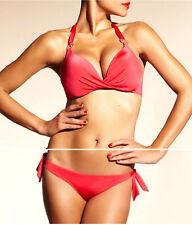 Chantelle 38B Large Rose Red Starlette 2pc Push Up Halter UW Bikini Swimsuit NEW