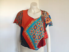 db Patchwork BoHo Festival Hippie Short Sleeve Blouse  Size 10