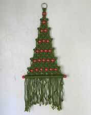 """Macrame Christmas Tree Wall Hanging Red Wood Beads Vintage 27"""" Tall"""