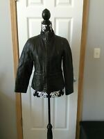 Womens Big Chill Faux Leather Brown Jacket W/Zipper and Belt Detail Size Large