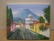 Flowery Cobblestone Mexican Street Sceen - Painting on Framed Canvas #2 - Mexico