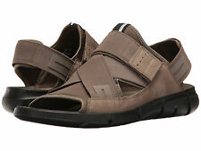ECCO Intrinsic Sandals US 13 - 13.5 M Tarmac Brown Elastic & Leather Mens Shoes