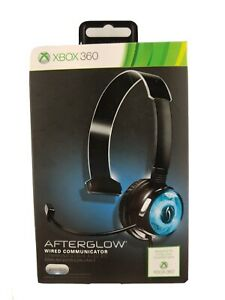 XBOX 360 PDP Afterglow Wired Headphone Headset Mic Gaming  Chat Communicator Blu
