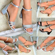 Ladies Low Block Heel Sandals Evening Ankle Strap Bridesmaid Metallic/Satin Shoe