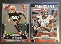 2019 Prizm Greedy Williams RC + Emergent Nick Chubb CLEVELAND BROWNS (LOT OF 2)