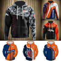 Denver Broncos Hoodie Zipper Hooded Football Sweatshirt Men's Casual Jacket Coat