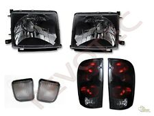 Black Headlights Front Signal + Tail Lights Lamps For 98 99 00 Toyota Tacoma 4WD
